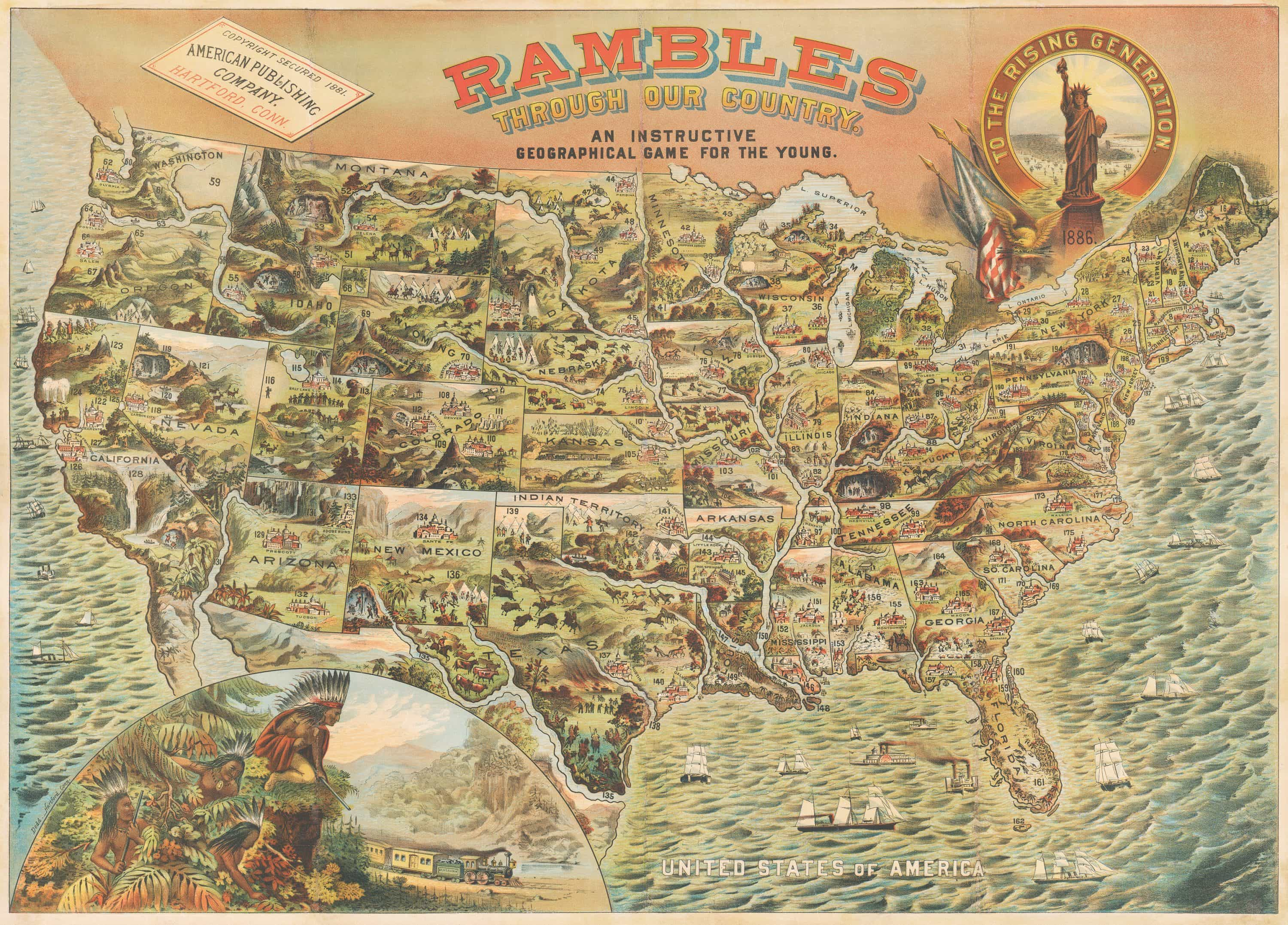Rambles Through Our Country … a spectacular pictorial map of the United  States