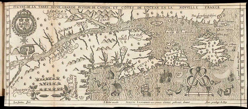 Marc Lescarbot, Figure de la Terre Nevve, Grande Riviere de Canada, et Cotes de L'Ocean en la Nouvelle France. Paris: 1609.