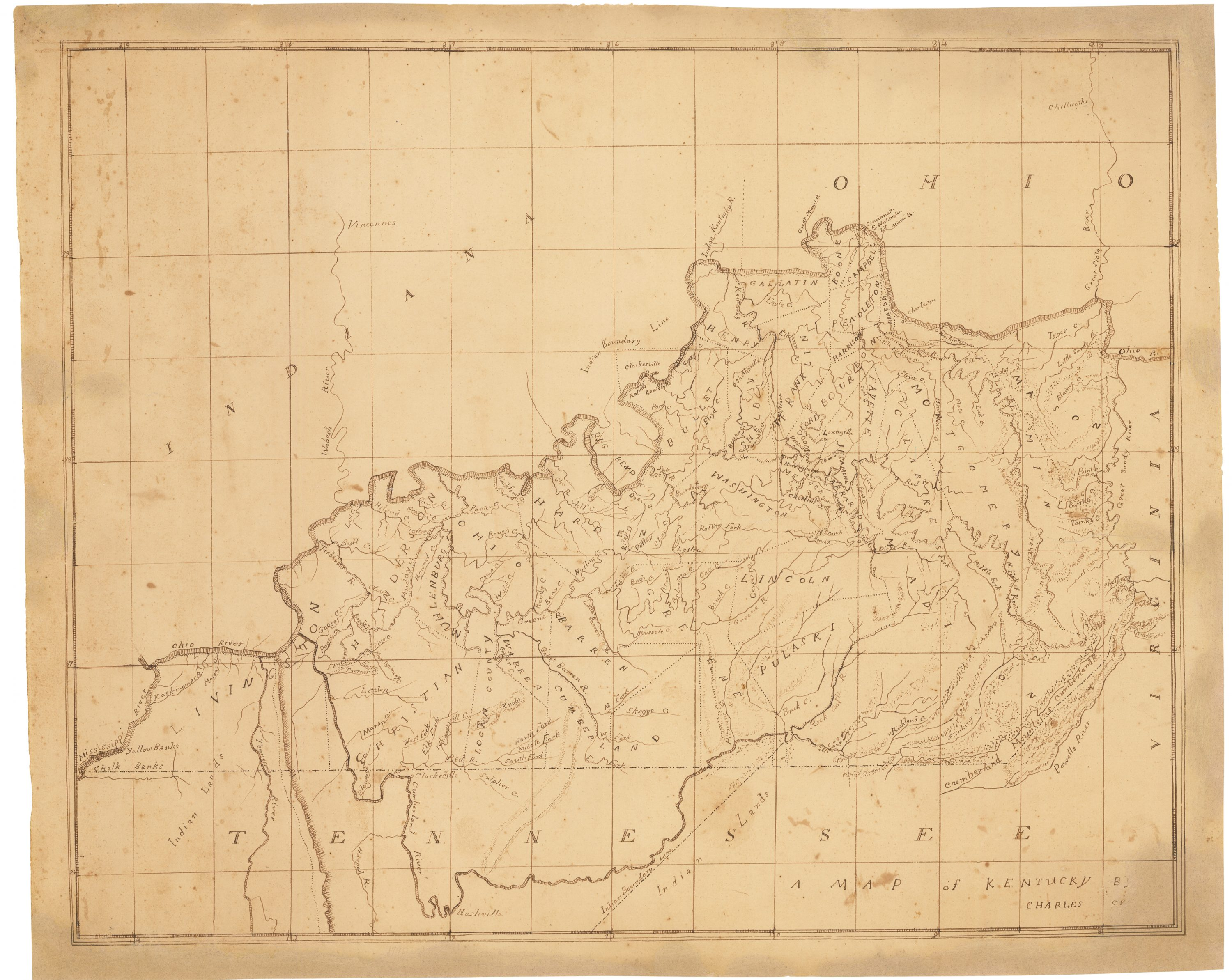 Five early 19th-century Kentucky school maps, drawn by members of one family