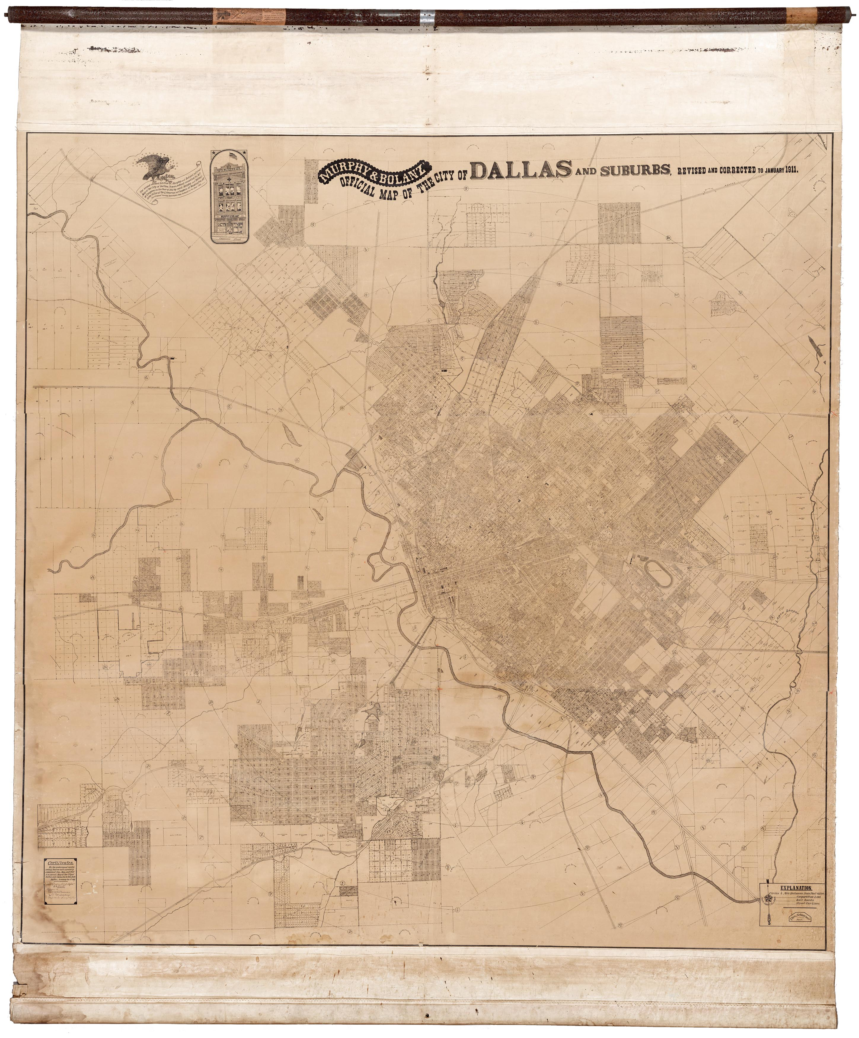 Colossal and unrecorded wall map of Dallas, Texas