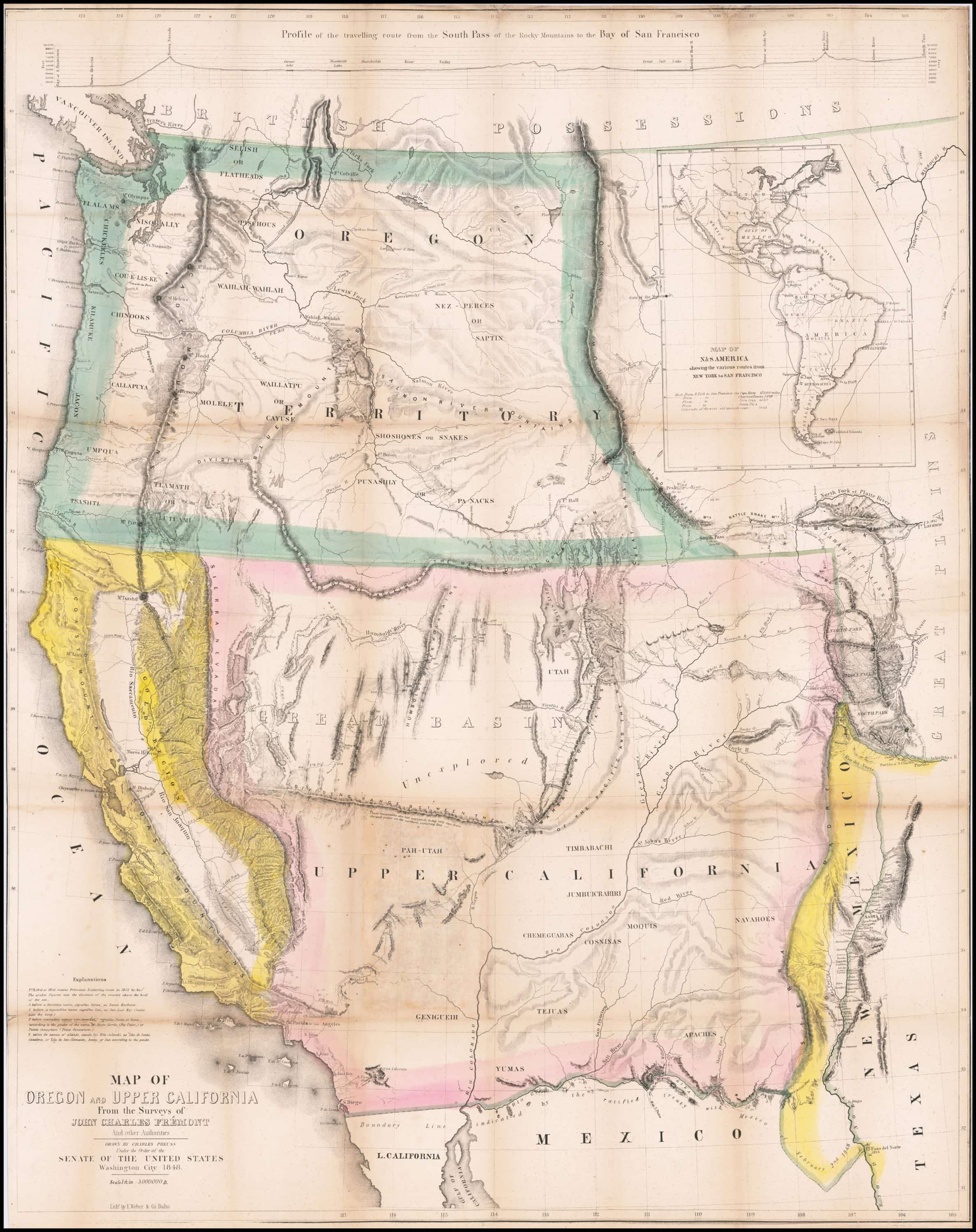 Extremely Rare California Gold Rush Edition Of Fremont S Epochal Map Of The West