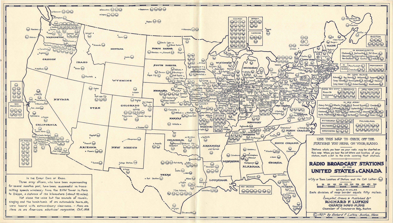Boston Radio Stations >> 1927 Map Of American Radio Stations Rare Antique Maps