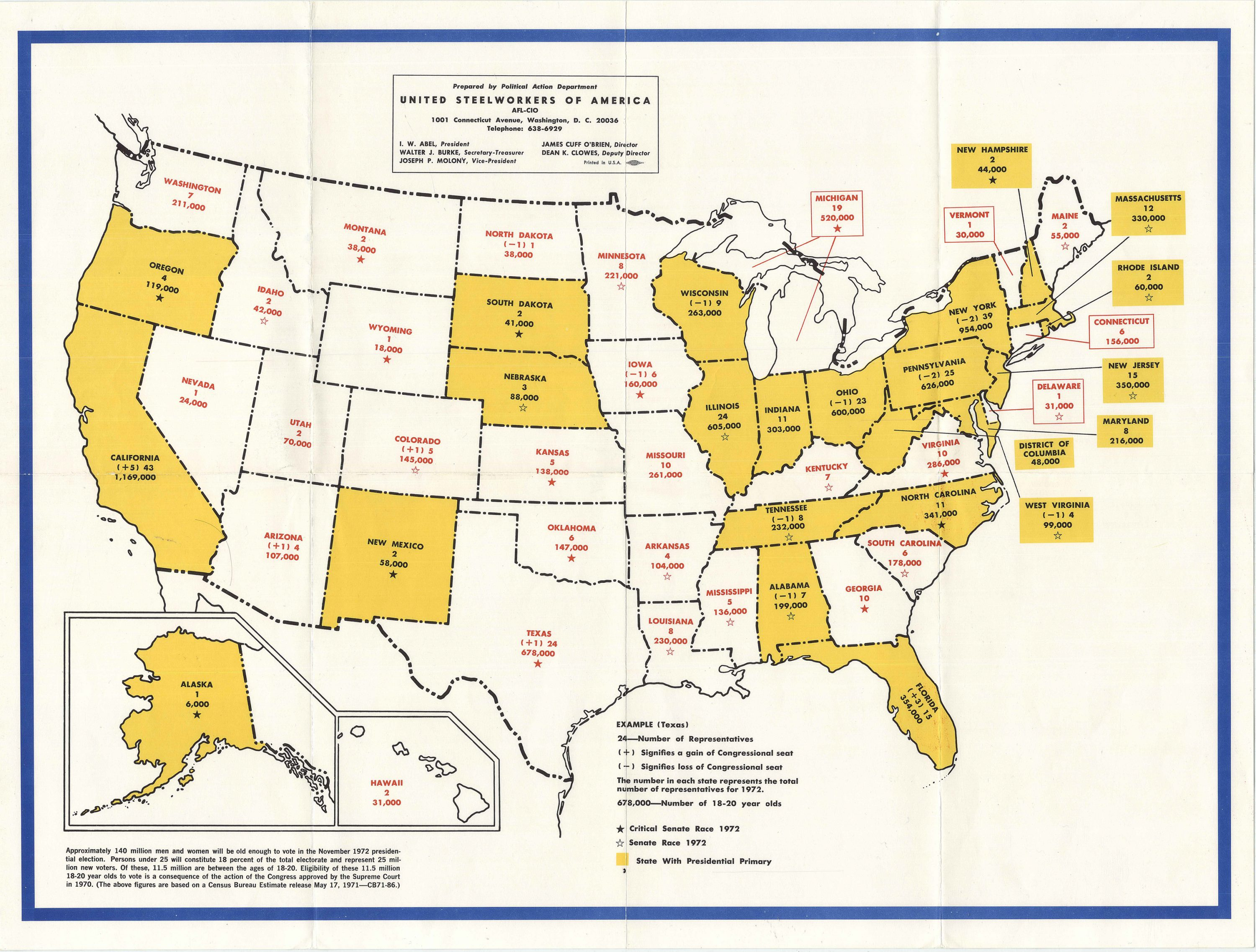 Image of: The United Steelworkers Fight The Election Of 1972 Rare Antique Maps