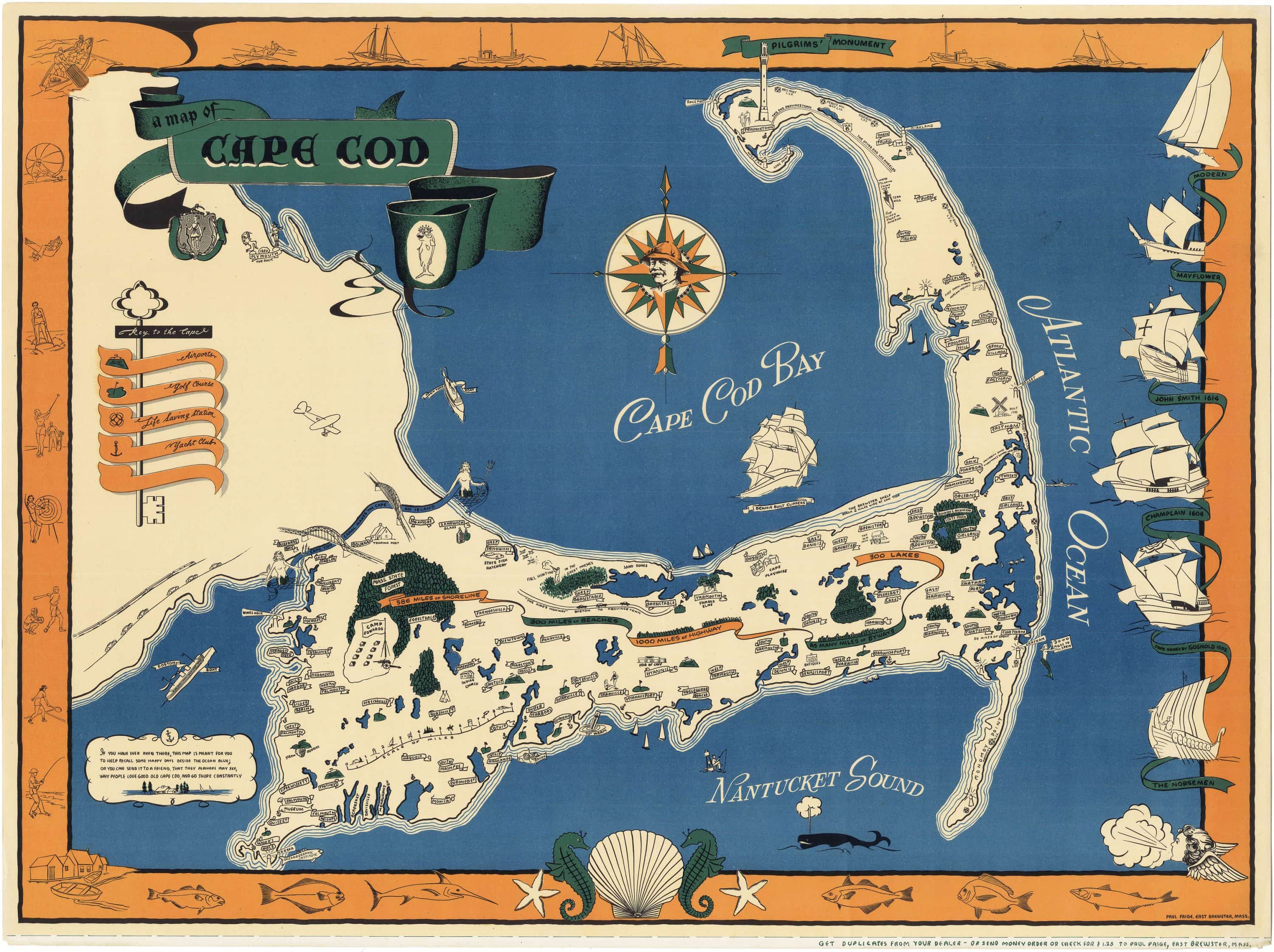 Vibrant pictorial map of Cape Cod