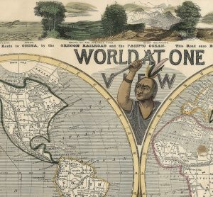 Detail of Native American on H. Phelps, WORLD AT ONE VIEW. New York and Buffalo: Ensign & Thayer; Boston: Jos. A. Ward; and Cincinnati: Rufus Blanchard, 1847.