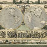Rare 18th-century paper instrument with an unusual flat earth projection