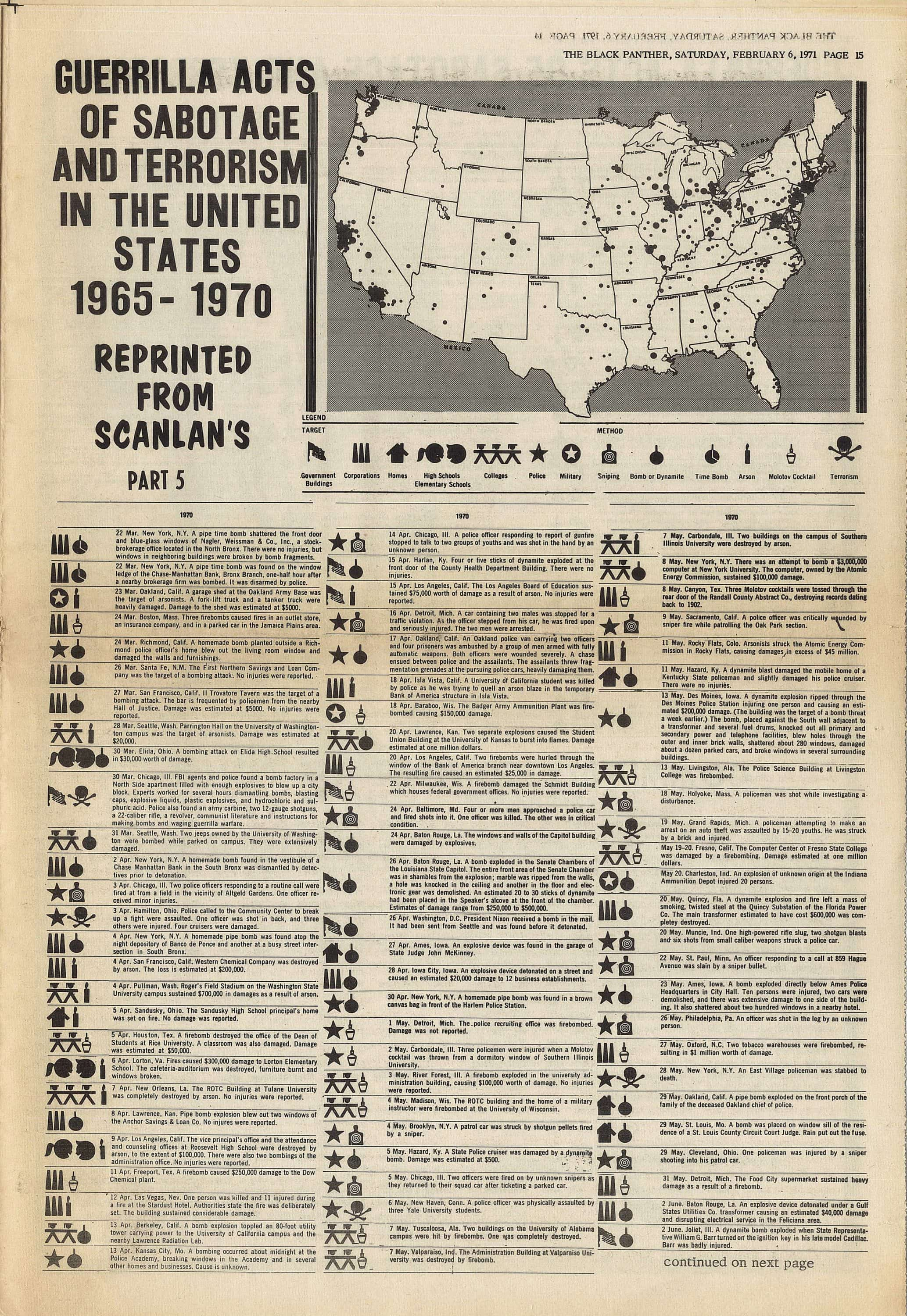 """The Black Panthers publish a map of """"guerilla acts of sabotage and  terrorism"""" in the U S"""