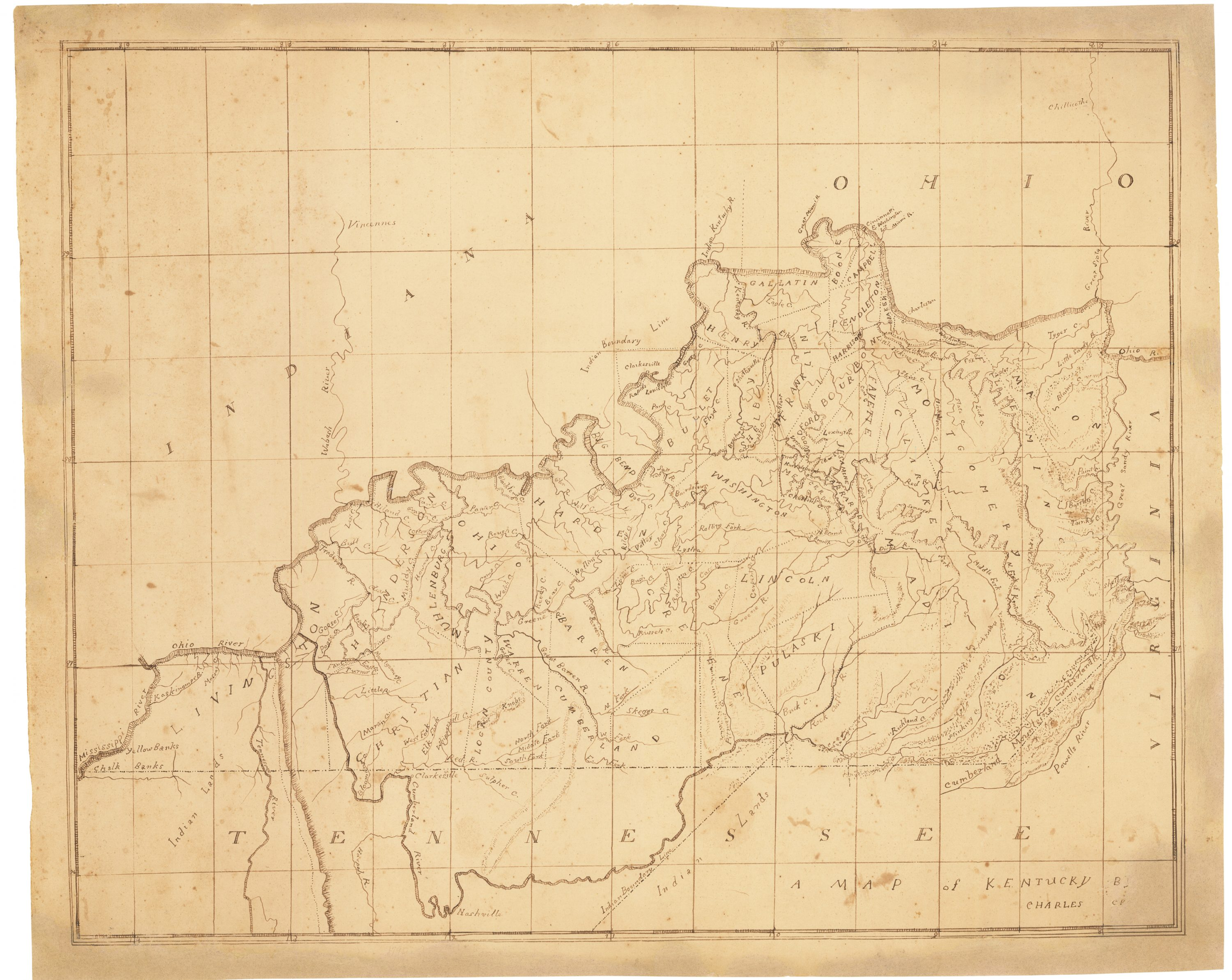 Schoolboy manuscript map of Kentucky, drawn on the frontier