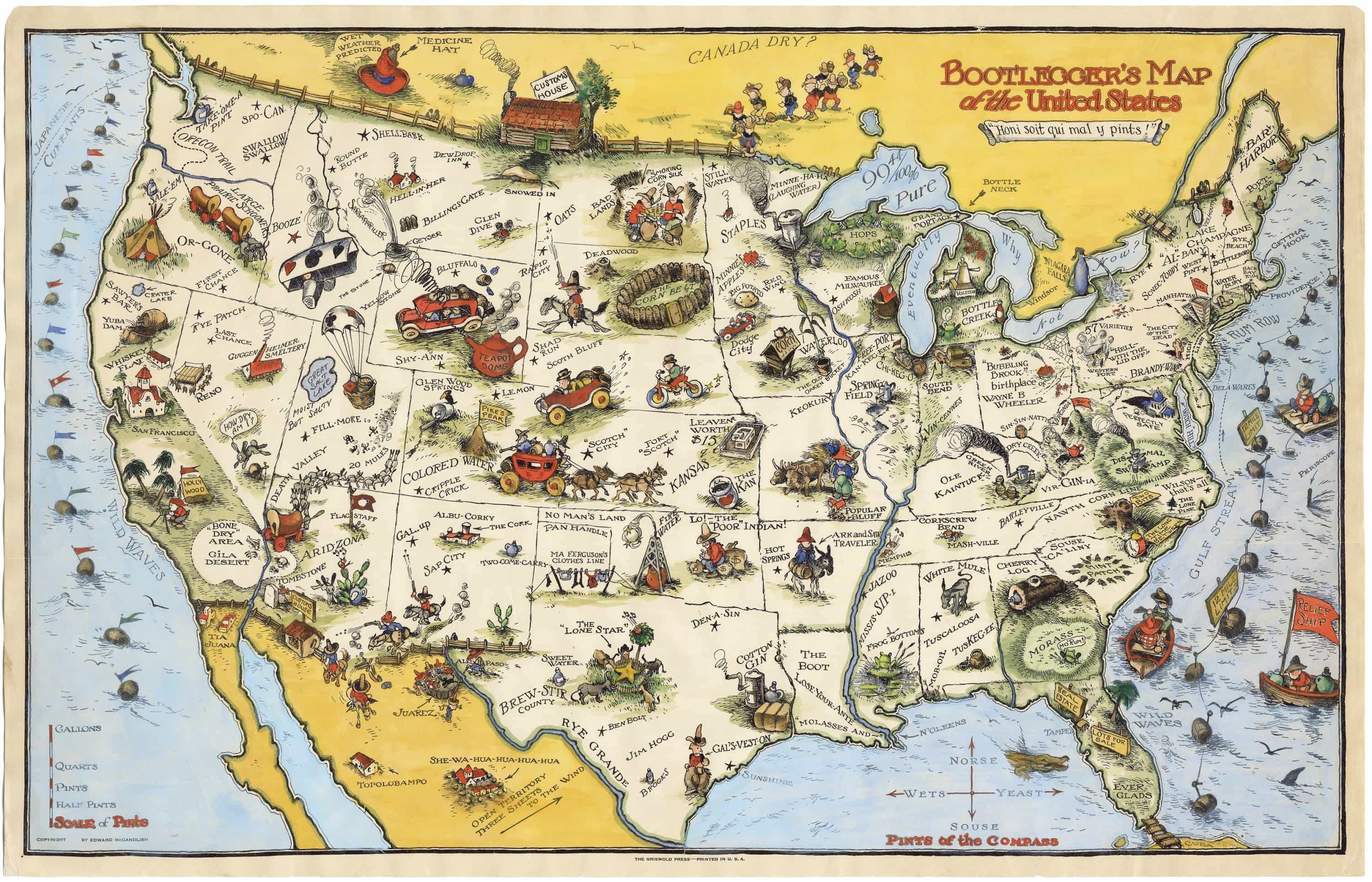 The famous Bootlegger's Map of the United States on united states regional stereotypes, united states government, united states of shame, georgia alcohol, united states fun fact,