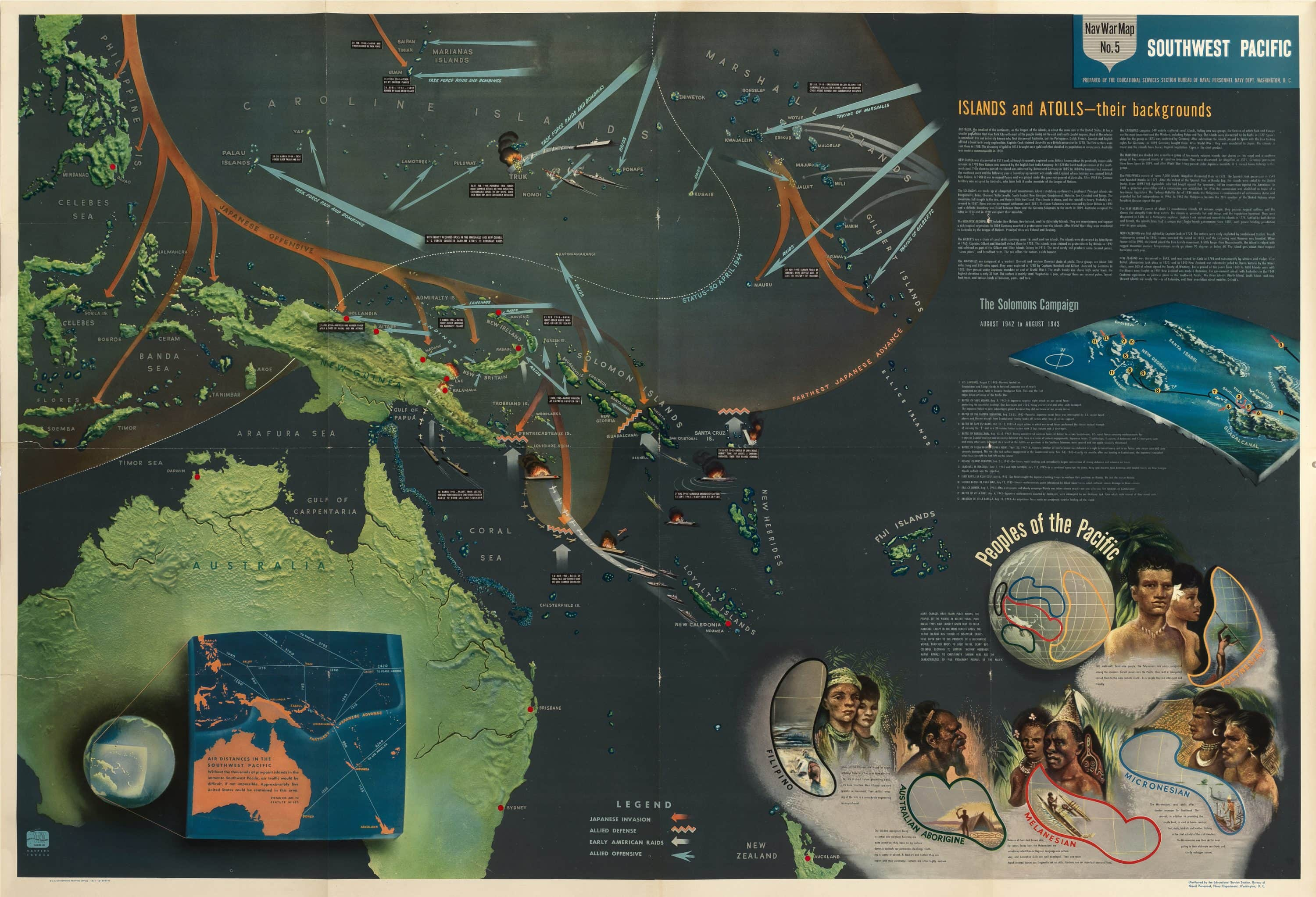Spectacular Nav War Map of the Southwest Pacific