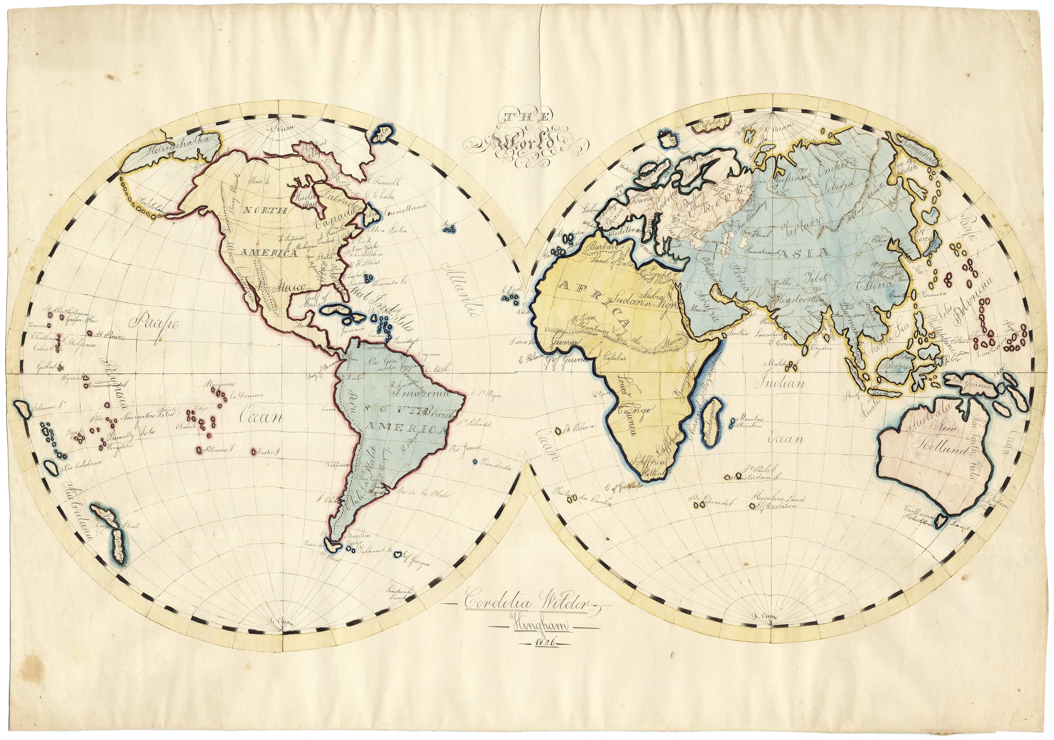 Picture of: Wonderful 1826 World Map By A Hingham Mass Schoolgirl Rare Antique Maps