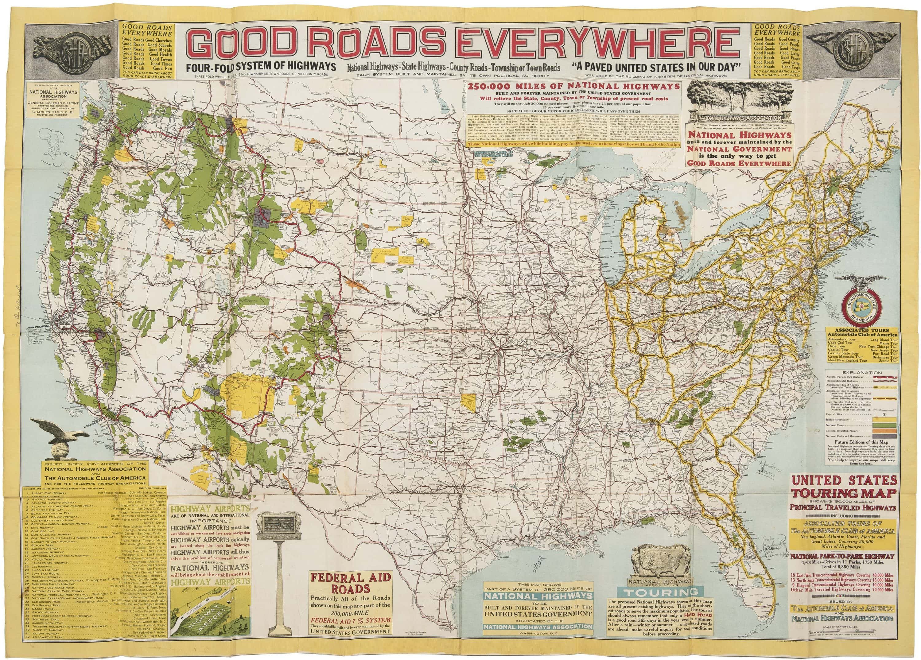 Picture of: The National Highways Association Pitches A Four Fold System Of Highways Rare Antique Maps