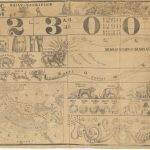 """J[onathan] Cummings / S.W. Chandler & Co. Lith., [Prophetic Chart.] Concord, NH: J. Cummings, 1853. Pictorial banner lithographed on muslin, approx. 39 ½""""h x 53 ¾""""w at sheet edge. Toned, foxed and soiled, and unevenly trimmed to the neat line at right. Crudely-sewn mends and patches using similar cloth, affecting printed image in places."""