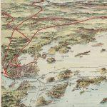 Geo. H. Walker & Co., BIRDS EYE VIEW OF CASCO BAY : PORTLAND, MAINE AND SURROUNDINGS. [Portland?] Harpswell Steamboat Company, 1906.