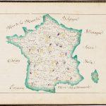 Map of vineyards of France in Eugénie Giraud, Devoirs de géographie. Première partie. France - ses montagnes - ses eaux. [Bound with:] Devoirs de géographie. Deuxième partie. Principales productions de la France en général. Chouzé-sur-Loire, 1877.