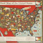 Louis Delton Fancher / Plampin Litho. Co. Inc., A Food Map of the United States showing the part played by each of our States in supplying the Nation's larder. [New York:] The Great Atlantic & Pacific Tea Co., 1932.