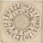 """[ Nostradamus ] Antoine de Fer, ROUE PERPETUELLE POUR PRONOSTIQUER LES ANNÉES FERTILES ET STERILES TRES FERTILES ET TRES STERILES POUR TOUTES LES ANNÉES TANT PASSÉES QVE AVENIR TIRÉE D'UN MANUSCRIPT DE M. MICHEL NOSTRADAMUS [""""Perpetual Wheel For Predicting Fertile and Barren Years, Very Fertile and Very Barren For All Years, both in the Past and Future, Drawn from a Manuscript by Mr Michel Nostradamus""""]. Paris: Antoine de Fer, [ca. 1641]."""